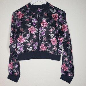Justice Floral Satin Bomber Jacket